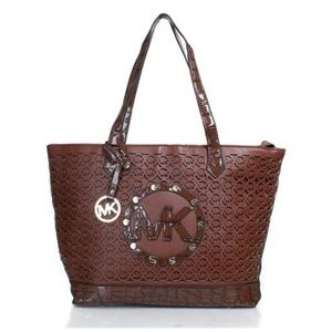 Michael Kors Embossed Stud Perforated Medium Coffe
